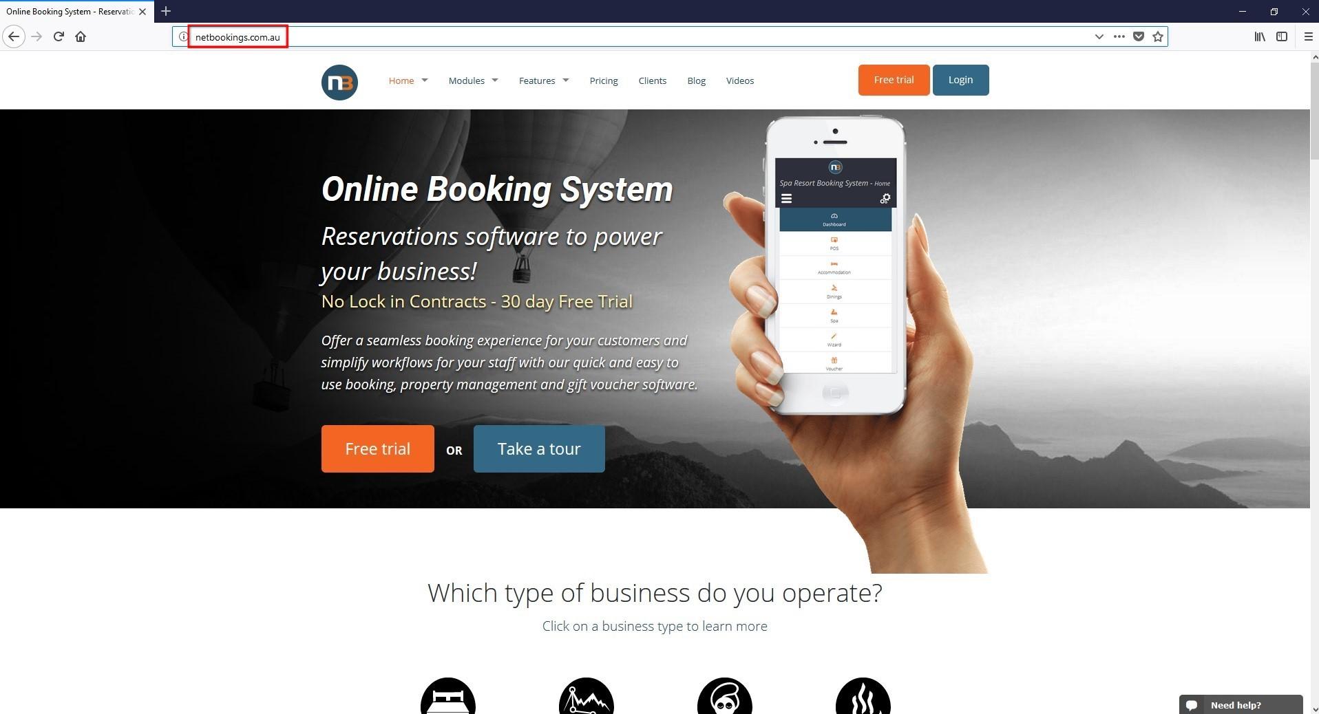 Go to Netbookings.com.au